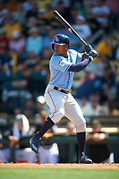 Tampa Bay Rays center fielder Mallex Smith (0) at bat during a Spring Training game against the Pittsburgh Pirates on March 10, 2017 at LECOM Park in Bradenton, Florida.  Pittsburgh defeated New York 4-1.  (Mike Janes/Four Seam Images)
