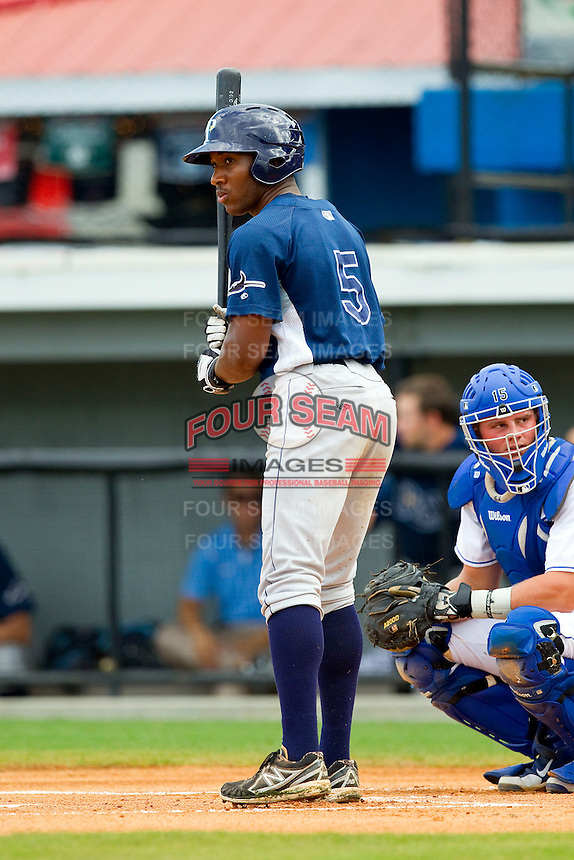 Bralin Jackson (5) of the Princeton Rays at bat against the Burlington Royals at Burlington Athletic Park on July 5, 2013 in Burlington, North Carolina.  The Royals defeated the Rays 5-1 in game one of a doubleheader.  (Brian Westerholt/Four Seam Images)