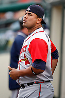 June 3, 2009:  Catcher Alvin Colina of the Gwinnett Braves in the dugout during a game at Frontier Field in Rochester, NY.  The Gwinnett Braves are the International League Triple-A affiliate of the Atlanta Braves.  Photo by:  Mike Janes/Four Seam Images