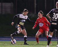 Anaelle Wiard of Aalst  (16) and Anouck Cochez of Woluwe (4) battle for the ball during a female soccer game between FC Femina White Star Woluwe and Eendracht Aalst on the sixth matchday of the 2020 - 2021 season of Belgian Scooore Womens Super League , friday 6 th of November 2020  in Woluwe , Belgium . PHOTO SPORTPIX.BE | SPP | SEVIL OKTEM