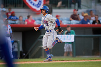 St. Lucie Mets shortstop Andres Gimenez (12) runs home during a game against the Florida Fire Frogs on April 19, 2018 at Osceola County Stadium in Kissimmee, Florida.  St. Lucie defeated Florida 3-2.  (Mike Janes/Four Seam Images)