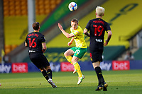 20th April 2021; Carrow Road, Norwich, Norfolk, England, English Football League Championship Football, Norwich versus Watford; Oliver Skipp of Norwich City heads the ball out of danger