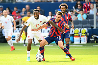 KANSAS CITY, KS - JULY 18: Cyle Larin #17 of Canada ,James Sands #16 of United States during a game between Canada and USMNT at Children's Mercy Park on July 18, 2021 in Kansas City, Kansas.