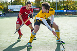 Mannheim, Germany, October 25: During the 1. Bundesliga men fieldhockey match between Mannheimer HC (red) and Harvestehuder THC (yellow) on October 25, 2020 at Am Neckarkanal in Mannheim, Germany. Final score 6-4 (HT 2-3). (Copyright Dirk Markgraf / www.265-images.com) *** Erik Kleinlein #12 of Mannheimer HC, Niklas Reuter #25 of Harvestehuder THC