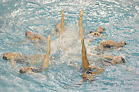 23 February 2008: Poppy Carlig, Missy Knight, Debbie Chen, Courtenay Stewart, Taylor Durand, Erin Bell, Corrine Smith, and Michelle Moore during Stanford's 101-62.5 victory over Arizona at the Avery Aquatic Center in Stanford, CA.