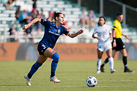 CARY, NC - SEPTEMBER 12: Kaleigh Kurtz #3 of the NC Courage attacks the ball during a game between Portland Thorns FC and North Carolina Courage at Sahlen's Stadium at WakeMed Soccer Park on September 12, 2021 in Cary, North Carolina.