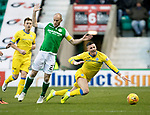 Hibs v St Johnstone…18.11.17…  Easter Road…  SPFL<br />Michael O'Halloran goes down under a challenge from David Gray<br />Picture by Graeme Hart. <br />Copyright Perthshire Picture Agency<br />Tel: 01738 623350  Mobile: 07990 594431