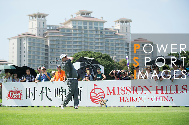 Markus Manninen tees off during the World Celebrity Pro-Am 2016 Mission Hills China Golf Tournament on 22 October 2016, in Haikou, China. Photo by Marcio Machado / Power Sport Images