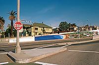 Santa Monica: Ocean Park Blvd., Underpass and Mural.  Photo '82.