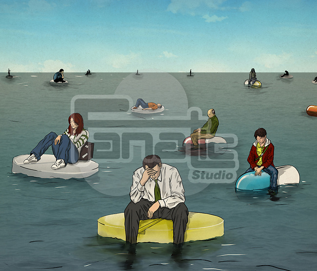 Illustrative image of people sitting on pills representing health issues