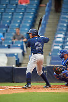 Colton Welker (15) of Marjory Stoneman Douglas High School in Coral Springs, Florida playing for the Tampa Bay Rays scout team during the East Coast Pro Showcase on July 28, 2015 at George M. Steinbrenner Field in Tampa, Florida.  (Mike Janes/Four Seam Images)