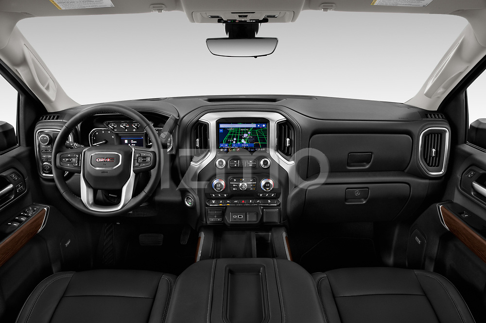 Stock photo of straight dashboard view of 2020 GMC Sierra-2500-HD SLT 4 Door Pick-up Dashboard