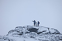 Hikers in winter conditions climbing Back Tor on Derwent Edge, Peak District National Park, Derbyshire, UK. January.
