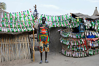 South Sudan, Rumbek, bar with plastic bottles decoration / SUEDSUDAN Rumbek , Bar mit Plastikflaschen Dekoration