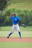 Toronto Blue Jays second baseman Leonardo Jimenez (52) warmup throw to first during an Instructional League game against the Philadelphia Phillies on September 30, 2017 at the Carpenter Complex in Clearwater, Florida.  (Mike Janes/Four Seam Images)