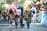 Caleb Ewan (AUS) Lotto-Soudal just pips Dylan Groenewegen (NED) Team Jumbo-Visma by centimetres for the sprint finish of Stage 11, with Elia Viviani (ITA) Deceuninck-Quick Step having the best view, of the 2019 Tour de France running 167km from Albi to Toulouse, France. 17th July 2019.<br /> Picture: ASO/Pauline Ballet   Cyclefile<br /> All photos usage must carry mandatory copyright credit (© Cyclefile   ASO/Pauline Ballet)
