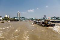 Bangkok, Thailand.  Chao Phraya River and Memorial Bridge.