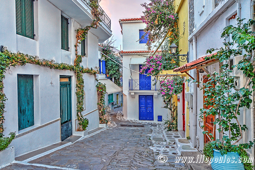 Picturesque alley in the Chora of Skiathos island, Greece