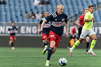 FOXBOROUGH, MA - MAY 12: Connor Presley #7 of New England Revolution II brings the ball forward during a game between Union Omaha and New England Revolution II at Gillette Stadium on May 12, 2021 in Foxborough, Massachusetts.