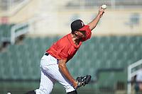 Kannapolis Intimidators relief pitcher Andrew Perez (14) delivers a pitch to the plate against the Delmarva Shorebirds at Kannapolis Intimidators Stadium on May 19, 2019 in Kannapolis, North Carolina. The Shorebirds defeated the Intimidators 9-3. (Brian Westerholt/Four Seam Images)