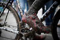 Sven Nys' (BEL/Crelan-AAdrinks) Bantranger's shoes post-race<br /> <br /> Azencross Loenhout 2014