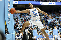 CHAPEL HILL, NC - NOVEMBER 01: Garrison Brooks #15 of the University of North Carolina tries to keep the ball from going out of bounds during a game between Winston-Salem State University and University of North Carolina at Dean E. Smith Center on November 01, 2019 in Chapel Hill, North Carolina.