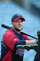 Minnesota Twins left fielder Rene Tosoni #23 before a game against the Los Angeles Angels at Angel Stadium on September 2, 2011 in Anaheim,California. Minnesota defeated Los Angeles 13-5.(Larry Goren/Four Seam Images)