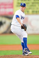 Ogden Raptors relief pitcher Michael Drowne (7) in action against the Orem Owlz at Lindquist Field on July 28, 2012 in Ogden, Utah.  The Raptors defeated the Owlz 8-7.   (Brian Westerholt/Four Seam Images)
