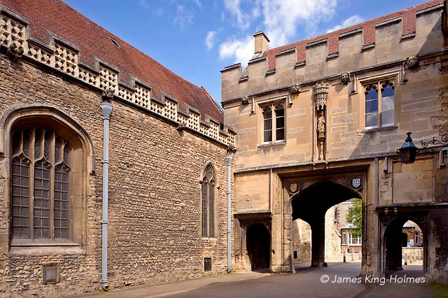 The gatehouse to Abingdon Abbey, with the church of St. Nicholas on the left. This gatehouse in one of the only remaining structures of the Abbey, but is extensively restored.. Abingdon was situated in the county of Berkshire, but under  local government re-organisation in 1974 it was transferred to Oxfordshire.