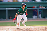 Catcher Alan Marrero (1) of the Greenville Drive in a game against the Asheville Tourists on Sunday, June 6, 2021, at Fluor Field at the West End in Greenville, South Carolina. (Tom Priddy/Four Seam Images)