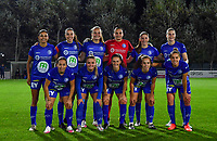 Gent's players with Jolet Lommen , Silke Vanwynsberghe , Lobke Loonen ,  Nicky Evrard , Fran Meersman , Heleen Jaques , Rkia Mazrouai , Imani Prez , Emma Van Britsom , Jasmien Mathys and Chloe Vande Velde pictured posing for the teampicture during a female soccer game between  AA Gent Ladies and Sporting Charleroi Feminin on the fifth matchday of the 2020 - 2021 season of Belgian Scooore Womens Super League , friday 16 th of October 2020  in Oostakker , Belgium . PHOTO SPORTPIX.BE | SPP | DAVID CATRY