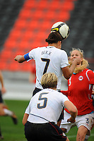 USA midfielder Shannon Boxx heads a shot on goal.  The USA defeated Norway 2-1 at Olhao Stadium on February 26, 2010 at the Algarve Cup.