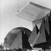 1967 FILE PHOTO - ARCHIVES -<br /> <br /> This is the face of Expo '67; where nations large and small have gathered on an island in the St. Lawrence to boast of their achievements; display their differences and show their wares. In this  photograph; as in the world outside Expo; the centres of attention are the United States and the Soviet Union. Behild the tree-shaped pavilion of the Canadian Pulp and Paper Association loom the soaring rectangular roof of the glass-walled Russian pavilion and the plastic-covered goedesic dome that symbolizes the U.S. at Expo. Have the international giants abandoned rivalry? Not at all. They're in a new kind of battle - and the spoils are the approval of 35;000;000 fairgoers<br /> <br /> 1967<br /> <br /> PHOTO : Boris Spremo - Toronto Star Archives - AQP