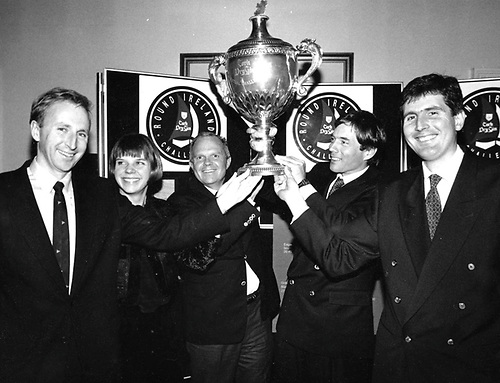 """The celebration of Lakota's 1993 Round Ireland Record with an impressive assembly of sailors from many backgrounds in the NYC in November 1993 contributed to shaping the template for subsequent """"Sailor of the Year"""" award ceremonies. Photo shows (left to right) Con Murphy, Cathy Mac Aleavey, Steve Fossett, David Scully and Brian Thompson"""