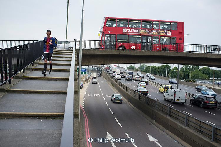 Traffic on the North Circular Road at Brent Cross, London.