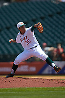 Miami Hurricanes relief pitcher Andrew Cabezas (35) in action against the Georgia Tech Yellow Jackets during game one of the 2017 ACC Baseball Championship at Louisville Slugger Field on May 23, 2017 in Louisville, Kentucky. The Hurricanes walked-off the Yellow Jackets 6-5 in 13 innings. (Brian Westerholt/Four Seam Images)