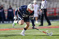 College Park, MD - February 15, 2020: Penn Quakers Kyle Gallagher (49) gets the groundball during the game between Penn and Maryland at  Capital One Field at Maryland Stadium in College Park, MD.  (Photo by Elliott Brown/Media Images International)