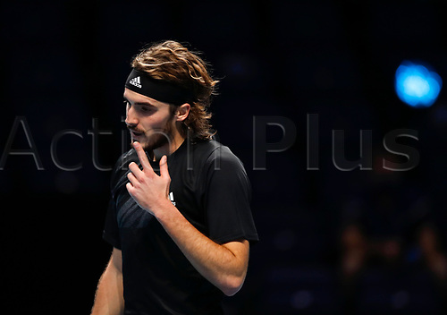 19th November 2020; O2, London;  StefanTsitsipas of Greece reacts during the singles group match against Rafael Nadal of Spain at the ATP, Tennis World Tour Finals 2020 in London
