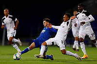 16th September 2020; Portman Road, Ipswich, Suffolk, England, English Football League Cup, Carabao Cup, Ipswich Town versus Fulham; Kenny Tete of Fulham competes for the ball with Armando Dobra of Ipswich Town