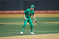 Notre Dame Fighting Irish shortstop Jared Miller (16) on defense against the Wake Forest Demon Deacons at David F. Couch Ballpark on March 10, 2019 in  Winston-Salem, North Carolina. The Demon Deacons defeated the Fighting Irish 7-4 in game one of a double-header.  (Brian Westerholt/Four Seam Images)