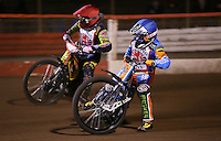Danno Verge (blue) and Adam Sheppard (red) of Kent - National League Pairs, The Rico Spring Classic at the Arena Essex Raceway, Pufleet - 20/03/15 - MANDATORY CREDIT: Rob Newell/TGSPHOTO - Self billing applies where appropriate - 0845 094 6026 - contact@tgsphoto.co.uk - NO UNPAID USE