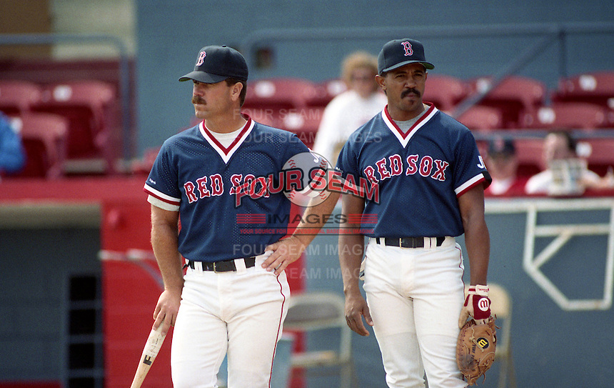 Boston Red Sox Gary Allenson and Tony Pena during Spring Training circa 1992 at Chain of Lakes Park in Winter Haven, Florida.  (MJA/Four Seam Images)