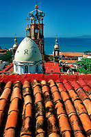 The Mexican Riviera is a popular tourist destination for cruise ships. Puerto Vallarta, Mexico.