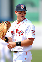 1B Anthony Rizzo of the Portland Sea Dogs during a break in the action during the game vs. the New Britain Rock Cats at Hadlock Field in Portland, Maine on May 31, 2010 (Photo by Ken Babbitt/Four Seam Images)