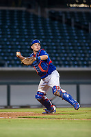 AZL Cubs catcher Marcus Mastrobuoni (5) makes a throw to first base against the AZL Diamondbacks on August 11, 2017 at Sloan Park in Mesa, Arizona. AZL Cubs defeated the AZL Diamondbacks 7-3. (Zachary Lucy/Four Seam Images)