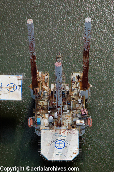 aerial photograph of a Falcon oil drilling platform in the gulf off of the Texas coast