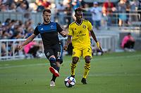 San Jose, CA - Saturday August 03, 2019: Harrison Afful #25, Vako Qazaishvili #11,  in a Major League Soccer (MLS) match between the San Jose Earthquakes and the Columbus Crew at Avaya Stadium.