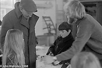 A.S.Neill, on the left, in the carpentry workshop, Summerhill school, Leiston, Suffolk, UK. 1968.