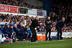 Ipswich Town 0, Oxford United 1, 22/02/2020. Portman Road, SkyBet League One. The two opposing managers, Paul Lambert, left, and the visitor's Carl Robinson watching the second-half as Ipswich Town play Oxford United in a SkyBet League One fixture at Portman Road. Both teams were in contention for promotion as the season entered its final months. The visitors won the match 1-0 through a 44th-minute Matty Taylor goal, watched by a crowd of 19,363. Photo by Colin McPherson.
