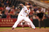 Springfield Cardinals pitcher Justin Wright (27) delivers a pitch during a game against the Frisco Rough Riders on June 1, 2014 at Hammons Field in Springfield, Missouri.  Springfield defeated Frisco 3-2.  (Mike Janes/Four Seam Images)